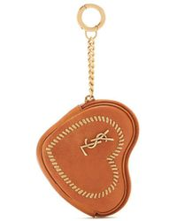 Saint Laurent | Love Heart-shaped Whipstitched Leather Coin Purse | Lyst