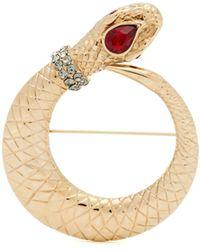 Etro - Crystal Embellished Snake Brooch - Lyst