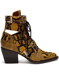 Chloé - Serina Snake-effect Leather Ankle Boots - Lyst