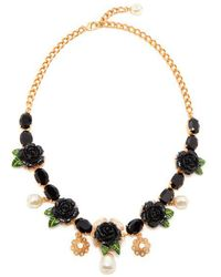 Dolce & Gabbana - Rose And Crystal-embellished Necklace - Lyst