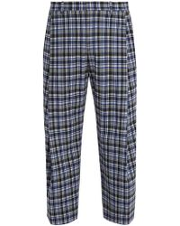 Wooyoungmi - Wide-leg Checked Stretch-wool Cropped Trousers - Lyst