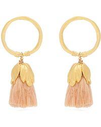 Elise Tsikis - Oxya Gold-plated Tassel Hoop Earrings - Lyst
