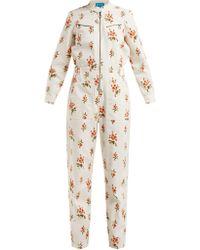 M.i.h Jeans - Margot Floral Print Corduroy Jumpsuit - Lyst