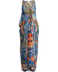 Camilla Faraway Florals Hand Painted Silk Kaftan - Blue