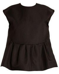 Rochas - Capped-sleeves Wool And Silk-blend Top - Lyst