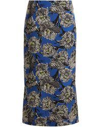 Raey - Giant Floral-print Silk Pencil Skirt - Lyst