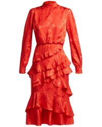 Saloni - Isa Floral-jacquard Silk Dress - Lyst