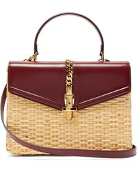 ad6df585b2f238 Gucci - Sylvie Wicker And Leather Top Handle Bag - Lyst