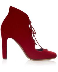 Tabitha Simmons - Aubrey Velvet Lace-up Court Shoes - Lyst