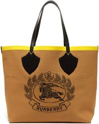 Burberry - The Giant Tote In Knitted Archive Crest - Lyst