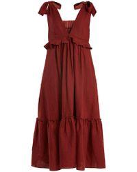 Three Graces London - Lydia Tie-neck Linen Dress - Lyst