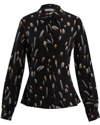 Rockins - Shooting-star Print Point-collar Silk Blouse - Lyst