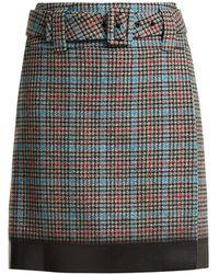 Prada Logo Patch Houndstooth Wool Blend Skirt