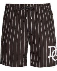 Dolce & Gabbana - Short de bain rayé à logo DG - Lyst