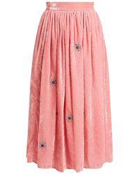 Jupe by Jackie - Strock Floral Embroidered Silk Velvet Skirt - Lyst