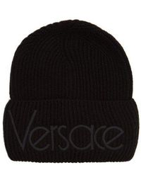 43fc5f0e5a2 Versace - Logo Embroidered Wool Beanie Hat - Lyst