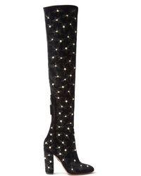 Aquazzura - Cosmic Pearls Velvet Over-the-knee Boots - Lyst