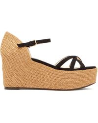 Jimmy Choo - Delany 80 Suede Wedge Sandals - Lyst