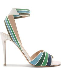 Valentino | Striped Leather And Suede Sandals | Lyst