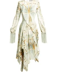 Alexander McQueen - Butterfly-print Silk-satin Asymmetric Midi Dress - Lyst