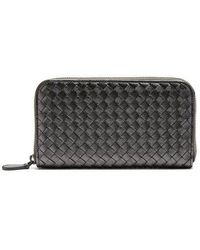 Bottega Veneta - Intrecciato Zip-around Leather Wallet - Lyst