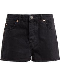 Raey - Hawaii Black Raw Cut Denim Shorts - Lyst