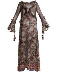 Anjuna - Ciclade Floral Print Tassel Trimmed Silk Dress - Lyst