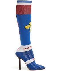 Vetements - Fleur De Lis Jacquard Knee High Sock Boots - Lyst
