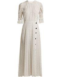 d919daf63d74 Alessandra Rich - Polka Dot Print Pleated Silk Dress - Lyst