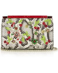 Christian Louboutin - Vanite Cherry-embroidered Snakeskin Clutch - Lyst