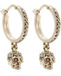 Alexander McQueen - Skull Crystal Embellished Hoop Earrings - Lyst