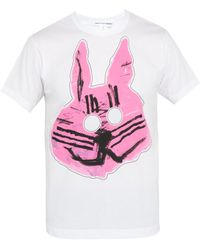 Comme des Garçons - Rabbit Print Cut Out Cotton T Shirt - Lyst