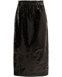 Raey - Elasticated Waist Crinkled Leather Skirt - Lyst