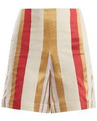 Zeus+Dione - Petra Striped Silk-blend Shorts - Lyst