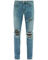 Amiri Mx1 Leather Patch Slim Leg Jeans - Blue
