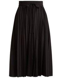 RED Valentino - Mid-rise Pleated Taffeta Midi Skirt - Lyst