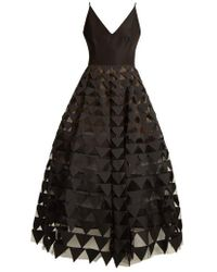 Oscar de la Renta - Triangle Appliqué V-neck Silk-faille Gown - Lyst