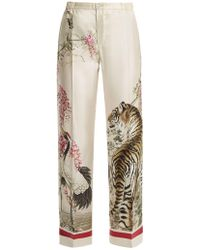 F.R.S For Restless Sleepers | Etere Tiger-print Wide-leg Silk Pyjama Trousers | Lyst