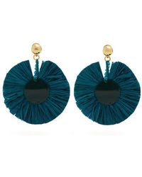 Oscar de la Renta - Bead-embellished Small Raffia Disc-drop Earrings - Lyst