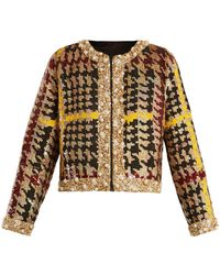 Ashish - Collarless Hound's Tooth Sequin Embellished Jacket - Lyst