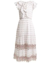 Sea - Colette Lace-trimmed Embroidered Cotton Dress - Lyst