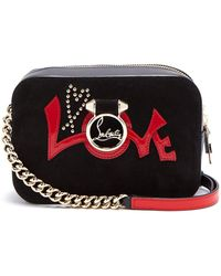 Christian Louboutin - Rubylou Mini Black Suede And Leather Shoulder Bag - Lyst
