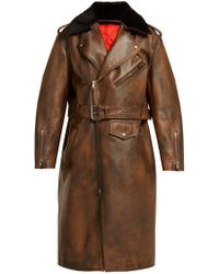 CALVIN KLEIN 205W39NYC - Shearling Collar Leather Coat - Lyst