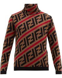 Fendi Ff Intarsia Roll Neck Wool Jumper - Brown