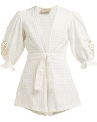 Adriana Degreas - Porto Embroidered Sleeve Cotton Playsuit - Lyst