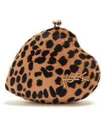 Saint Laurent - Love Box Leopard-print Calf-hair Clutch - Lyst