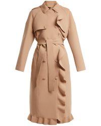 MSGM | Ruffle-trimmed Bonded-crepe Coat | Lyst
