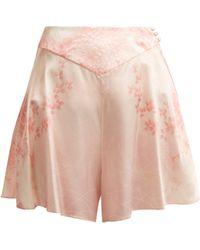 Hillier Bartley Floral Print Silk Shorts