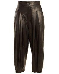 Natasha Zinko - Pleat-detail Wide-leg Leather Culottes - Lyst