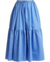 Stella McCartney - Tanya Tiered Cotton Poplin Midi Skirt - Lyst